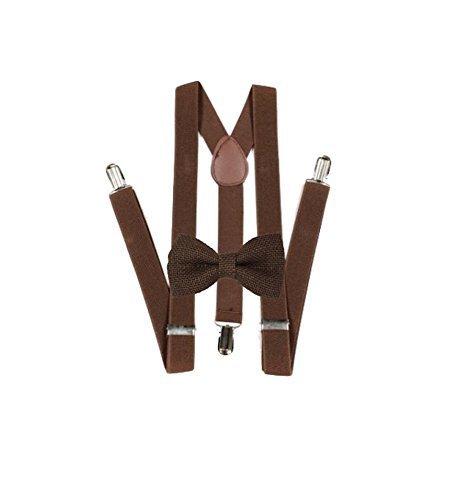 - Hemp Bow ties and brown suspenders Set Combo Mens (Dark Brown)