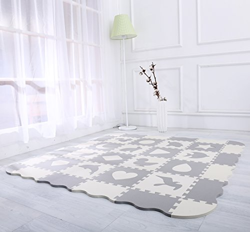 115b1dd5ce88 Superjare 36 Pieces Baby Play Mat, 0.56 Inch Thick Interlocking Foam Floor  Tiles with 16 Patterns, Non Toxic Crawling Mat for Playroom & Nursery, ...