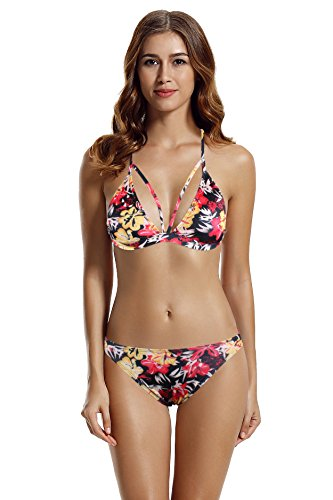 Zeraca Women's 2 Piece Sexy Brazilian Triangle Bikini Bathing Suits M10 Bauhinia