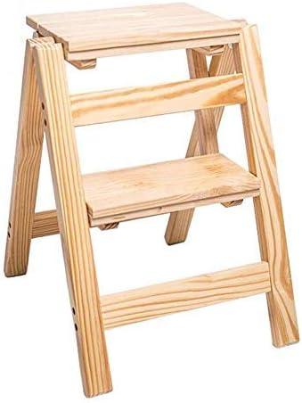 YZjk Taburete Plegable fácil y multifunción, Taburete con Escalera, Taburete de Madera Maciza de 2 peldaños, peldaño Antideslizante para niños y Adultos Muebles escaleras portátiles, Nogal Amarillo: Amazon.es: Hogar