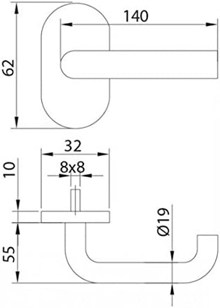 base ovalada inox AISI 304 satinado Estebro 9920OS Juego de manillas