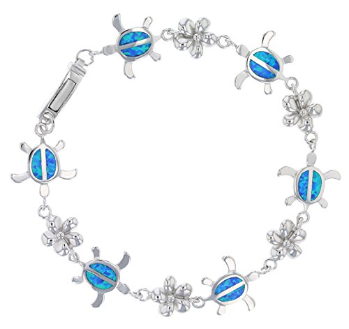 (Sterling Silver Created Blue Opal Inlay Turtle/Honu and Plumeria Adjustable Bracelet)