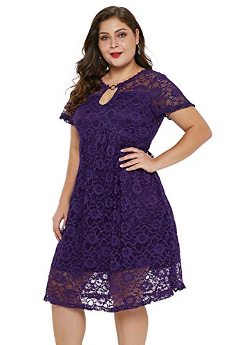 Women's Plus Size Short Sleeves Floral Lace Trapeze Babydoll Split Neck with O-Ring Detail and V-Back Mini Casual Party Dress Purple 5XL ()