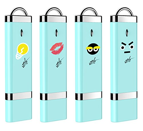 4X mosDART 16GB Cute Emotional USB2.0 Flash Drive Bulk Thumb Drives Memory Sticks Jump Drive Zip Drive with Led Indicator,Blue(16GB,4pack)