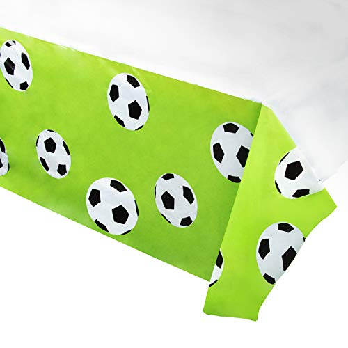 Juvale Soccer Plastic Tablecloth - 3-Pack 54 x 108-Inch Soccer Ball Disposable Table Cover, Fits up to 8-Foot Long Tables, Game Day Party Decoration Supplies, 4.5 x 9 Feet