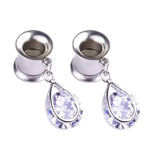 CHoppyWAVE Ear Gauges Plugs,Women Waterdrop Rhinestone Earring Flesh Tunnel Expander Ear Piercing Jewelry 22mm ()