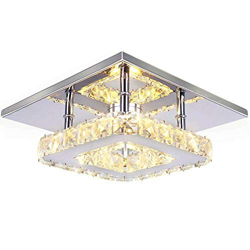 - Ganeed Flush Mount Ceiling Light Ceiling Lamp Square LED Modern K9 Crystal Ceiling Flush Mount Polished Chrome Light Porch Balcony Children's Room Bathroom (7.9 Inch/12W/4000K/Neutral Light)