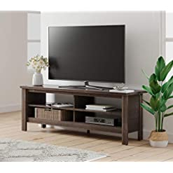 Farmhouse Living Room Furniture Farmhouse Wood TV Stand for 65 inch Flat Screen Living Room Storage Sheleves Entertainment Center(Espresso, 59inch) farmhouse tv stands