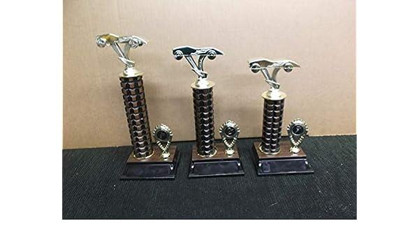 cub scout trophies set of 3  pinewood derby dark pineapple column place trim