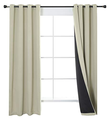 - Aquazolax 100% Blackout Curtain Panels, Energy Efficiency Full Blackout 2-Layer Lined Curtains, Thermal Insulated Guest Room Window Draperies, Set of 2, W52 x L72 inch, Beige