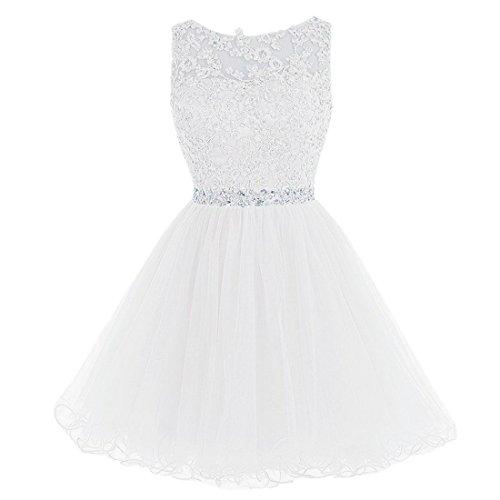 QIYUN.Z Mujeres A-Línea De Encaje Tutu Tul Vestido Vestido De Noche Abierta De Regreso Homecoming Bata Blanco