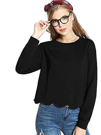 VS Fashions black Round Neck Hoodie & Sweatshirt For Women