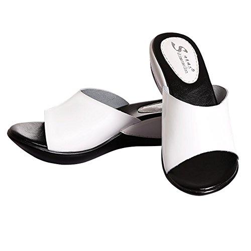 Chanclas ZZHF Zapatillas Zapatillas de Verano Femeninas Zapatillas de Moda Pistas de Exterior con Sandalias Gruesas (2 Colores Opcionales) (Tamaño Opcional) A