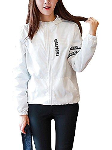 Minetom Femme Homme Manches Longues Coupe-vent Blousons Loose Fermeture clair Manteau Couple Vtements de sport Outwear Blanc
