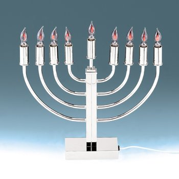 Classic Electric Menorah with Flickering Bulbs