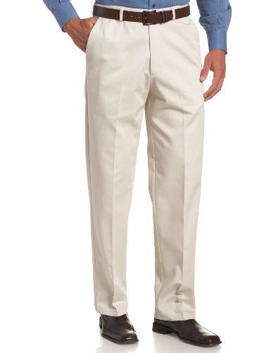 Haggar Men's Work To Weekend Hidden Expandable Waist No Iron Plain Front Pant,String,36x29