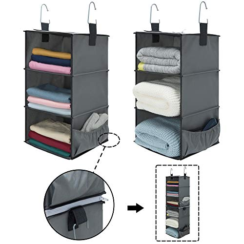 """StorageWorks 2PCS 3-Shelf Hanging Closet Organizers, Space-Saving Storage Closet Hanging Shelves, Collapsible Storage Shelves for Clothes and Shoes, Polyester Fabric, Greenish Gray, 12""""x12""""x21"""""""