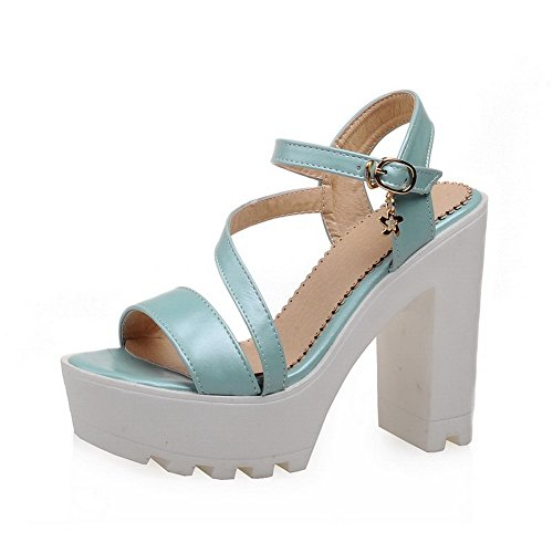 AgooLar Women's Buckle PU Solid Open Toe High-Heels Sandals Blue UatpdkqH