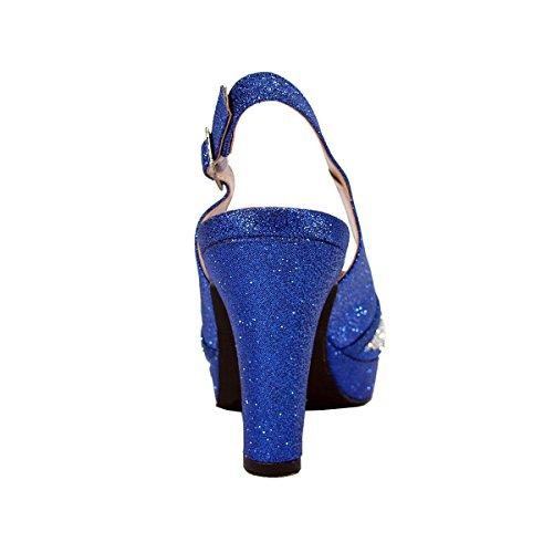 Floral Nadia Femmes Large Largeur Strass Clouté Plate-forme Peep-toe Slingback (tableau De Mesure Disponible Bleu