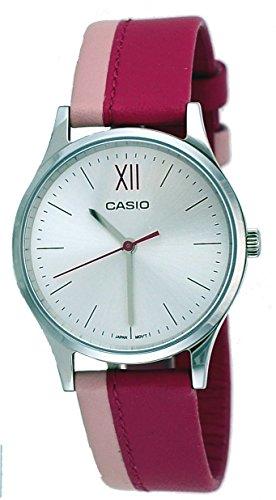 Casio LTP-E133L-4B2 Women's Standard Minimalist Leather Band Silver Dial Watch