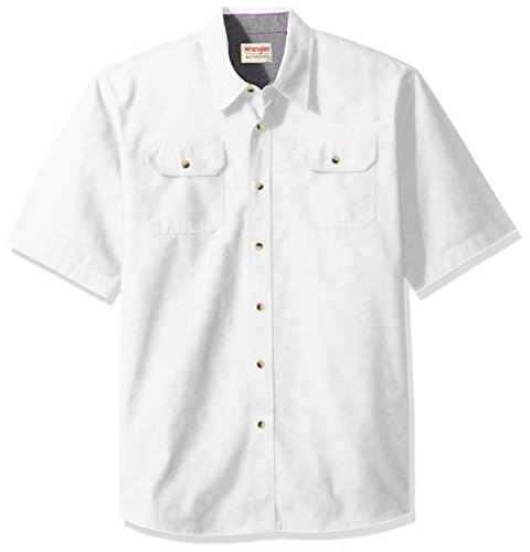 Wrangler Authentics Men's Short Sleeve Classic Twill Shirt, Bright White, ()