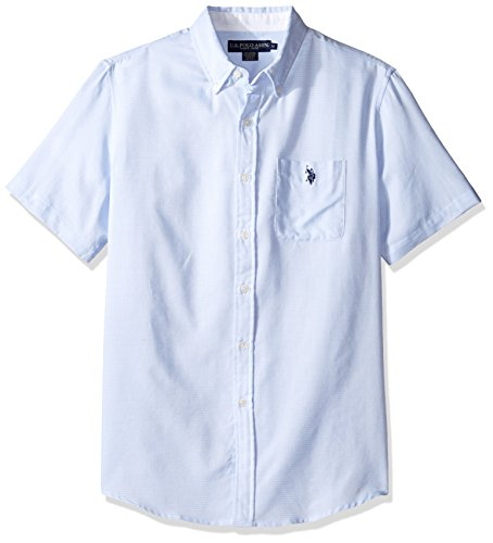 U.S. Polo Assn. Men's Classic Fit Single Pocket Stripe, Plaid Or Print Sport Shirt, 9720-Artist Blue, M (Sport Shirt Plaid Pocket)
