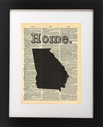 Georgia State Vintage Map Dictionary Art Print 8x10 inch Home Vintage Art Abstract Prints Wall Art for Home Decor Wall Decorations For Living Room Bedroom Office Ready-to-Frame ()