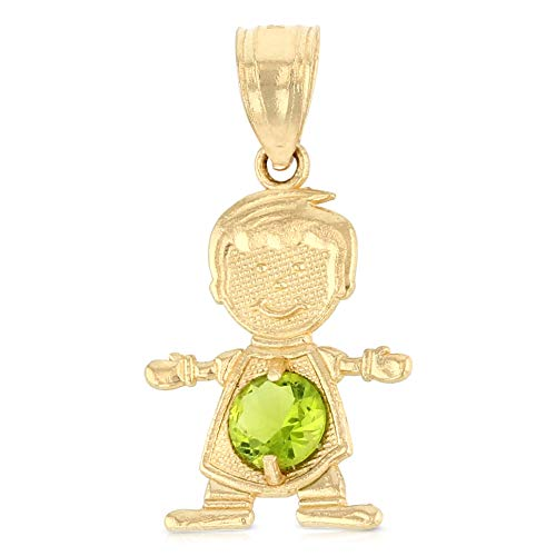 Ioka - 14K Yellow Gold August Birthstone Cubic Zirconia CZ Boy Charm Pendant For Necklace or Chain