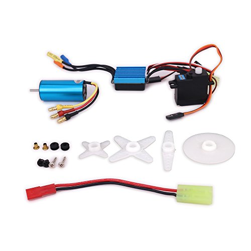 370 Brushless Motor - 1/18 Scale 17g Servo + 2040 Brushless Motor 4800KV + 25A Waterproof ESC Speed Controller for Wltoys A949 A959 A969 A979 k929 RC Car Airplane Boat