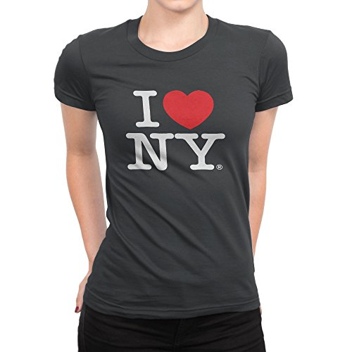 I Love NY New York Womens T-Shirt Ladies Cap Sleeve Tee Heart Charcoal (Heart Love Ladies Fitted Tee)