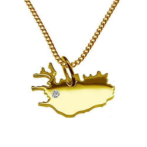 Endroit Exclusif Island Carte Pendentif avec brillant à votre Désir (Position au choix.)-avec Chaîne-massif Or jaune de 585or, artisanat Allemande-585de bijoux