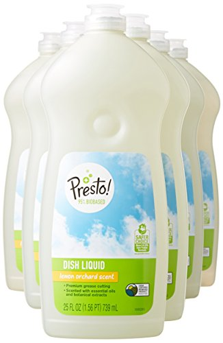 An Amazon Brand - Presto! 95% Biobased Dish Liquid, Lemon Orchard Scent, 25-ounce bottles (pack of 6)