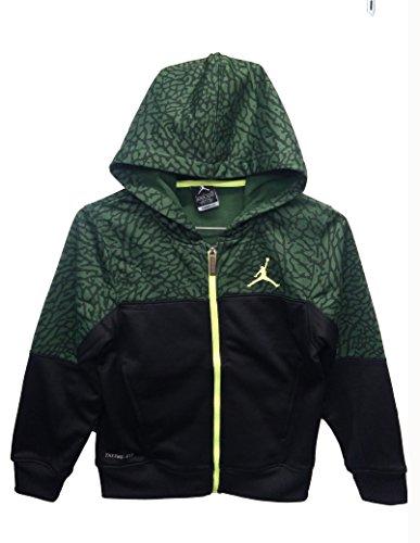 Nike Jumpman Boy's Therma-fit Small Black/Green Elephant Print Zippered Hoodie