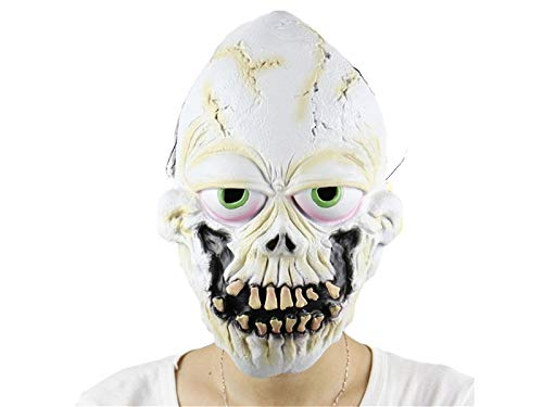 Yyanliii Divertente Horror Latex Tooth Decsk Skull Mask Scary Tricky Copertina Per Halloween (Bianco)