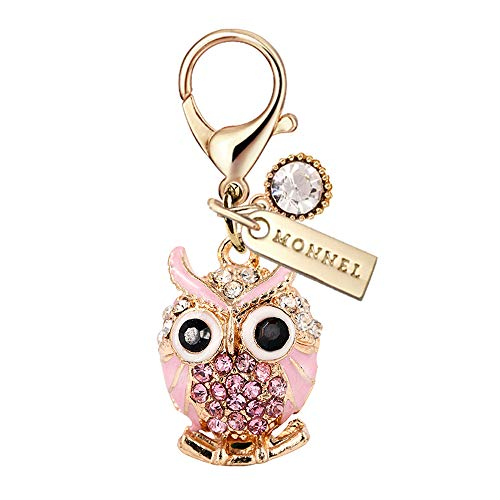 Clasp Animal - MC89 New Arrival Pink Crystal 3D Animal Owl Lobster Clasp Charm Pendant with Pouch Bag (1 Piece)
