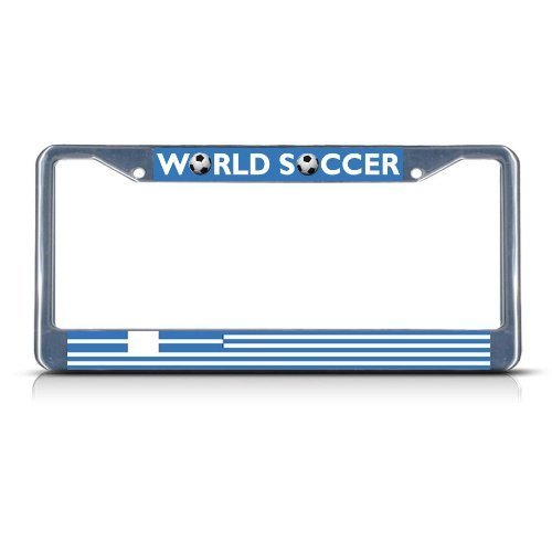 Guang trading GREECE Soccer Team Chrome Metal Heavy Duty License Plate Frame Tag Border by Guang trading
