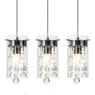 Wtape 3-Light Glass & Crystal Chandelier Pendant Light, Decorative Pendant Lighting for Kitchen Bedroom Hallway with 55.05'' Adjustable Cord