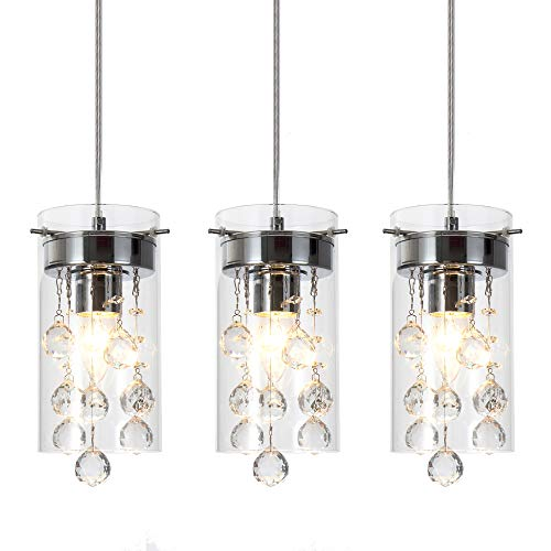 Wtape 3-Light Glass & Crystal Chandelier Pendant Light, Decorative Pendant Lighting for Kitchen Bedroom Hallway with 55.05 Adjustable Cord