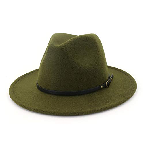 Vim Tree Women's Classic Wide Brim Fedora Hat with Belt Buckle Felt Panama Hat Green