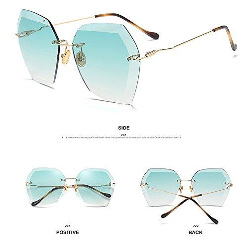 Sin Marco Diamante Moda Sol Óptica De Modernas Gafas De La Recortadas Piernas Sol De La Gafas Moda De Green Cuadradas De Las La Manera De Green De La qwX8CI