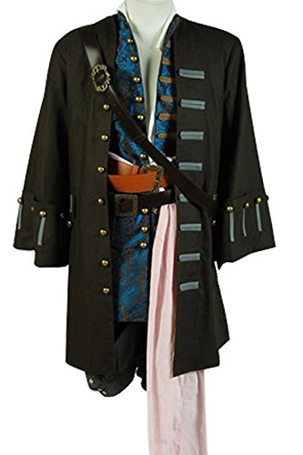 mingL Captain Jack Sparrow Halloween Cosplay Costume Outfit Full Suit New Version (Captain Jack Sparrow Jacket)