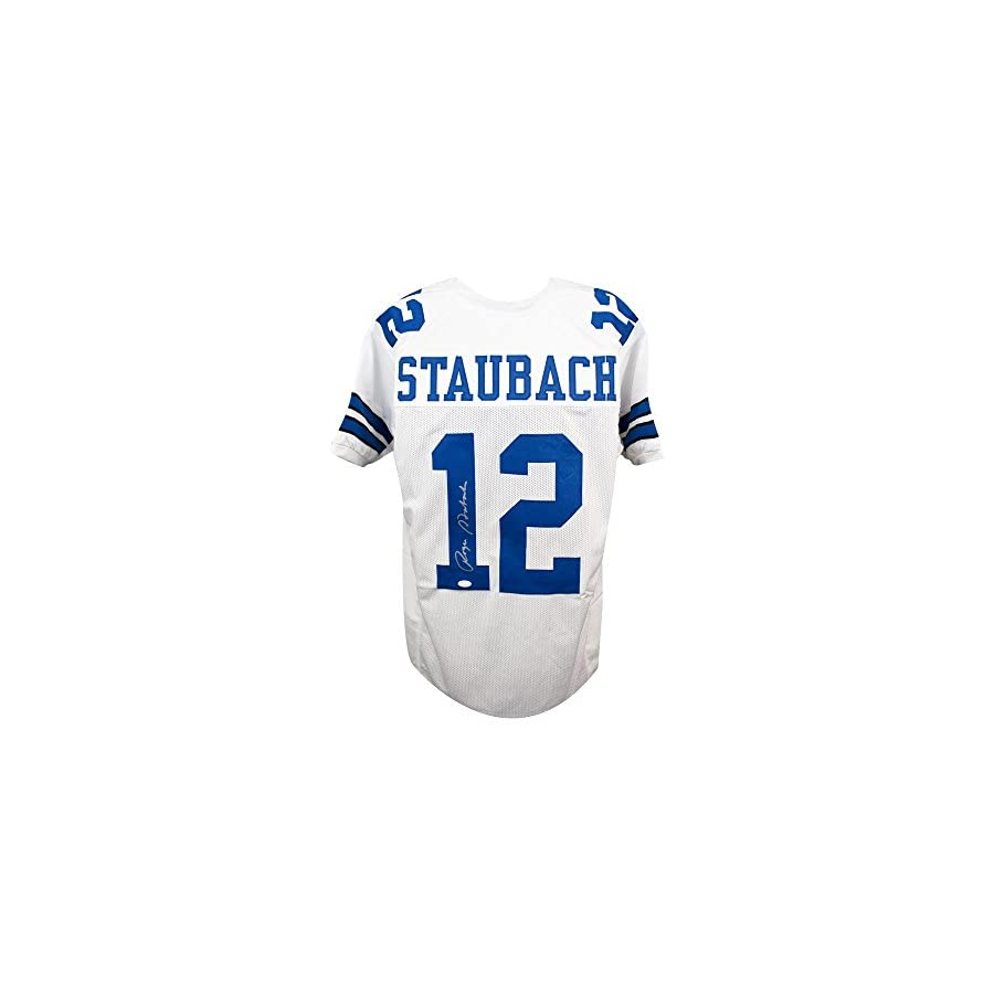 Roger Staubach Autographed Dallas Cowboys Custom White Football Jersey JSA COA