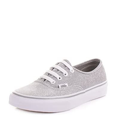 64c510bed9dbdf Womens Vans Authentic Silver Shimmer Shoes SIZE 5  Amazon.co.uk  Shoes    Bags