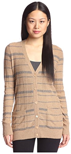 Wood Womens Sweater (Cashmere Addiction Women's Plaid Cardigan Sweater, Wood/Flannel, M)