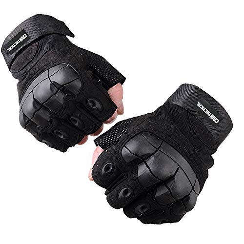 Premium Half Finger Tactical sports Gloves with Wrist Support for Men & Women, Extra Grip Gloves Anti-Slip & Full Protection - hunting shooting- Fitness and Workout Activities (Medium)