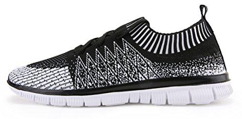 Scarpe Da Uomo Vibdiv Per La Corsa Sneakers Flyknit Leggere E Allacciate Nere / Bianche