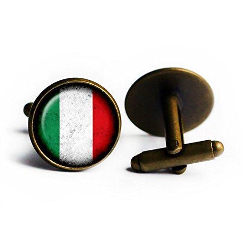 Italy Italian Italia Flag Antique Bronze Cufflinks from Elysian Workshop