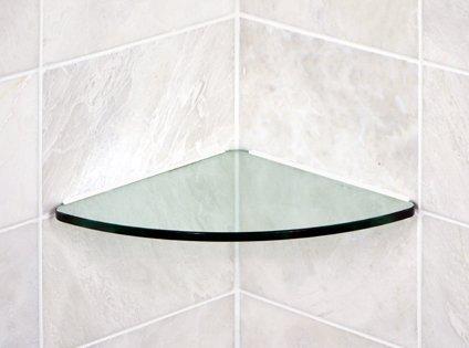 "Bluegate Inc Bathroom Tempered Glass Curved Corner Shelf 10"""