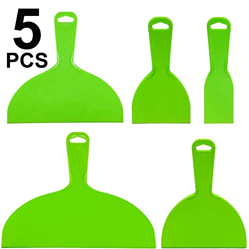 Reusable Plastic Putty Knife Set Green Flexible Scraper Tool Flexible Paint Scrapers Tool for Decals, Wallpaper, Baking, Wall and Car Putty, Spackling, Patching and Painting
