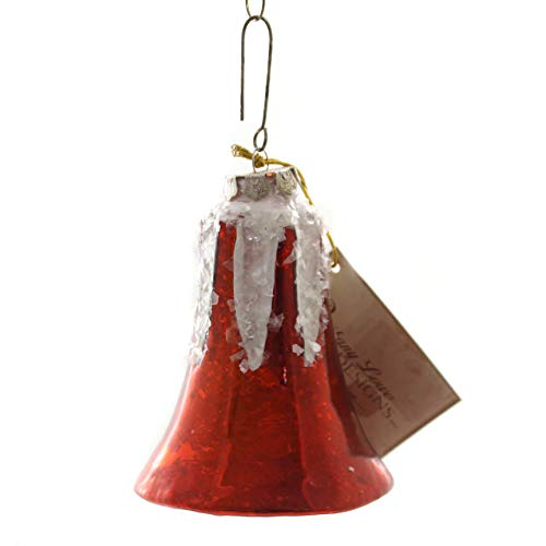 Holiday Ornaments Bell Mercury Large Glass Glass Vintage Style Sn7499 Red ()